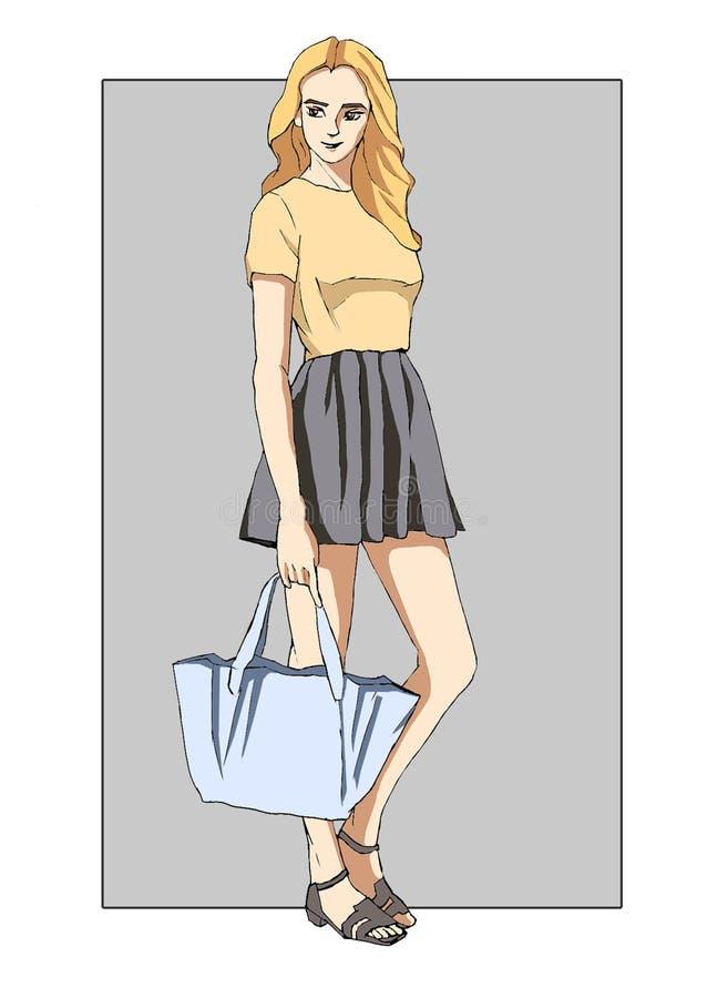 Una muchacha con un bolso de bolsos fotografía de archivo libre de regalías