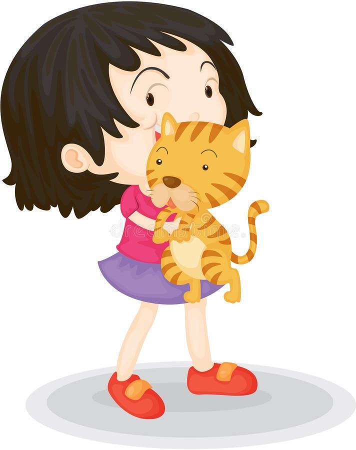 Una muchacha con un Cub ilustración del vector