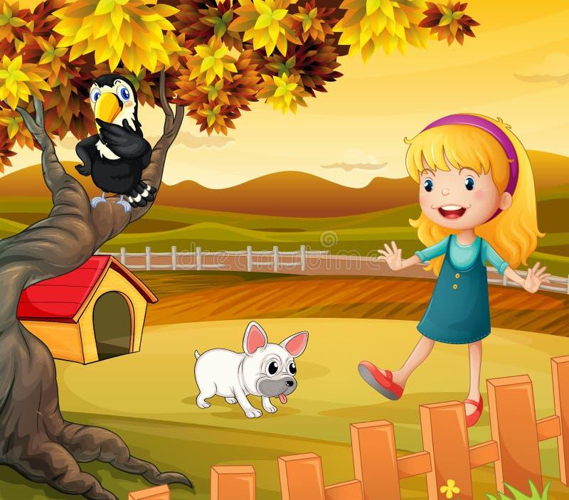 Una muchacha con un perro y un pájaro stock de ilustración