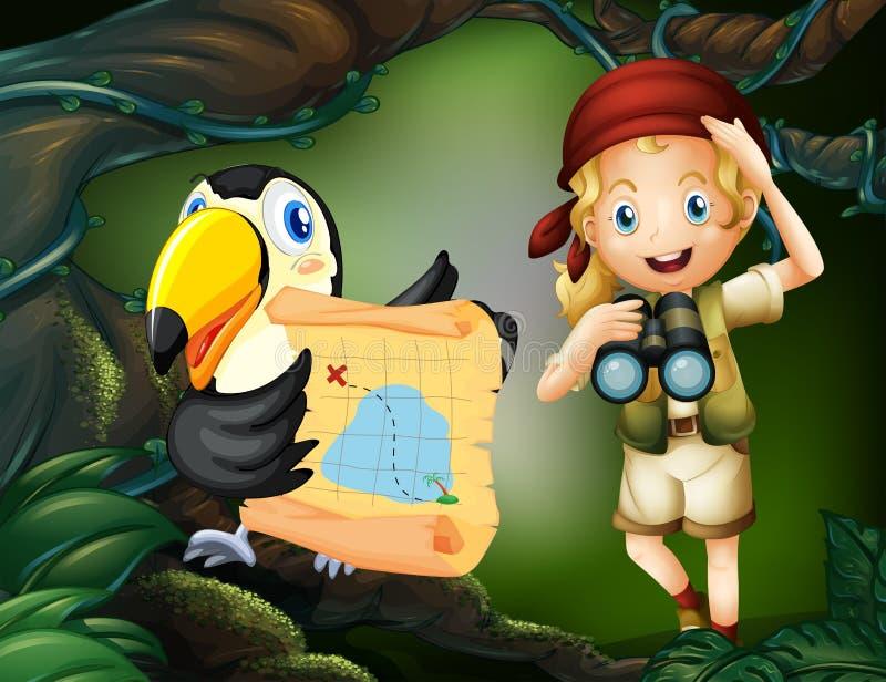 Una muchacha con un telescopio y un pájaro con un mapa libre illustration