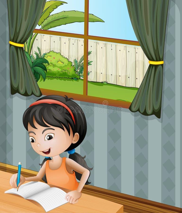Una muchacha con una escritura de la venda ilustración del vector