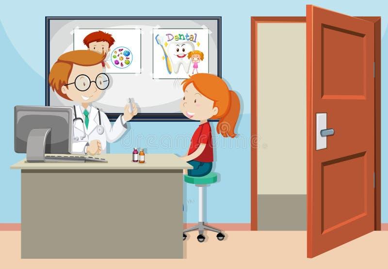 Una muchacha consulta con el doctor ilustración del vector