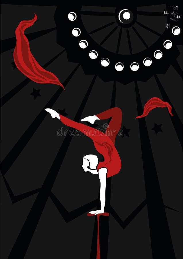 Una muchacha del acróbata de circo ilustración del vector