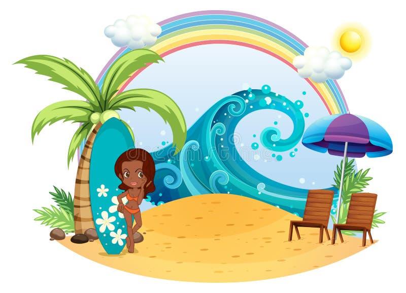 Una muchacha del moreno en la playa con un tablero que practica surf libre illustration