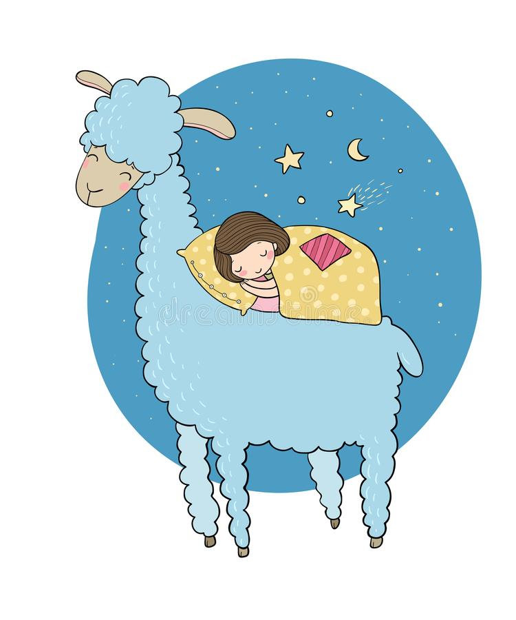 Una muchacha durmiente y un lama de la historieta stock de ilustración
