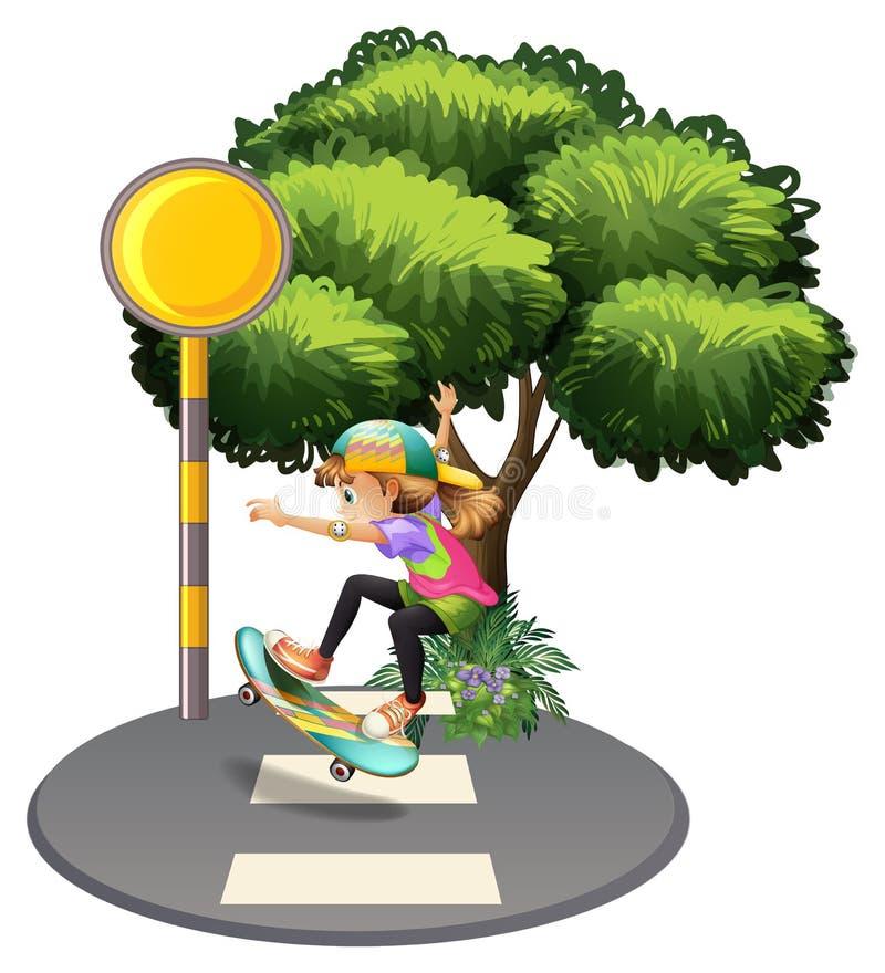 Una muchacha enérgica en el carril peatonal ilustración del vector