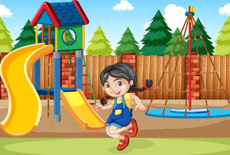 Una muchacha en el patio libre illustration