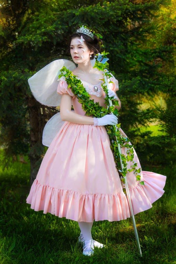 Una muchacha en una imagen del hada-cuento de una reina de hadas fotos de archivo libres de regalías