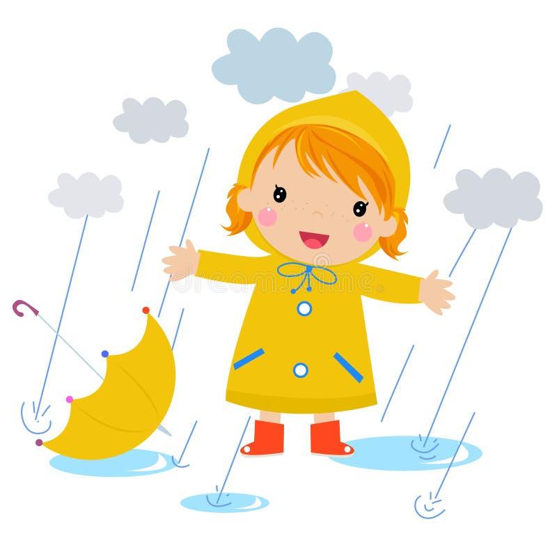 Una muchacha en la lluvia stock de ilustración