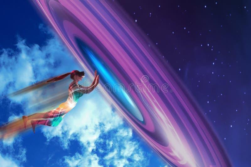 Una muchacha en sueños de los vidrios de la realidad virtual que ella está volando Concepto de tecnologías modernas y tecnologías imagenes de archivo