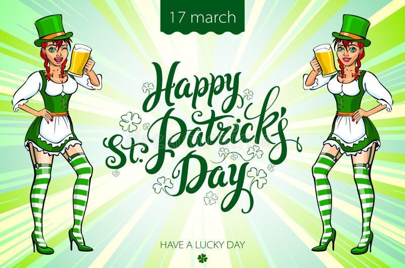 Una muchacha en un sombrero verde y un vestido verde que sostienen una bandeja con una taza de cerveza inglesa Enhorabuena al día ilustración del vector