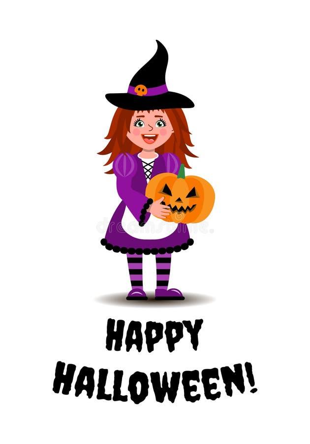 Una muchacha en un traje de la bruja sostiene una calabaza para Halloween E stock de ilustración
