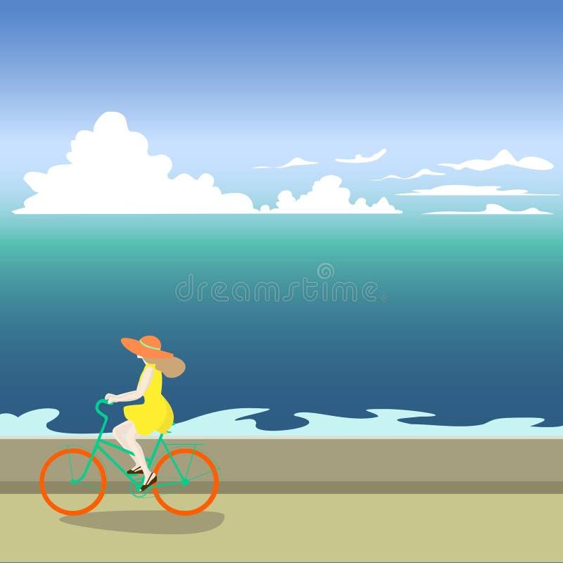 Una muchacha en una bicicleta monta a lo largo de la orilla de mar Ejemplo del vector de un mar libre illustration
