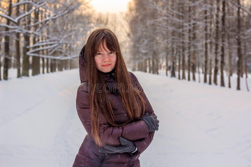 Una muchacha está caminando en el parque en invierno foto de archivo libre de regalías