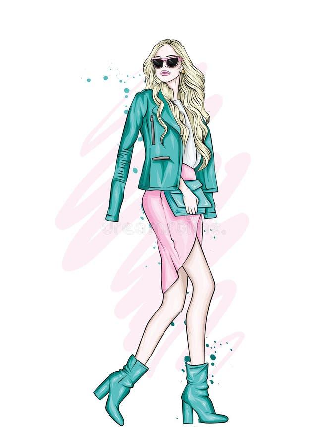 Una muchacha hermosa con el pelo largo en vidrios, una chaqueta, una falda y botas con los talones Ilustración del vector libre illustration