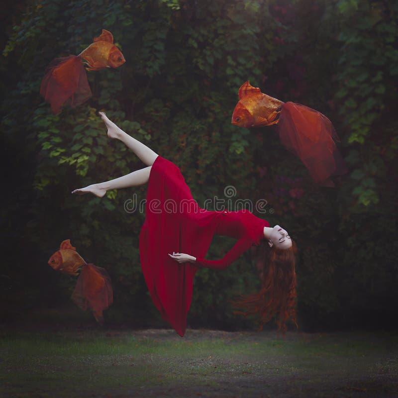 Una muchacha hermosa con el pelo rojo largo en un vestido rojo está elevando y manteniendo flotando sobre la tierra Foto mágica s imagenes de archivo