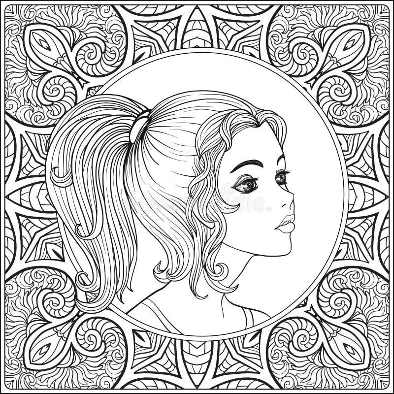 Una muchacha hermosa joven Retrato en un fondo de un modelo ilustración del vector