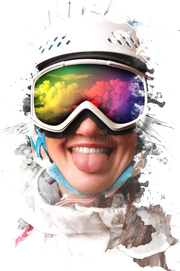 Una muchacha joven de la snowboard que llevaba un casco y los vidrios pusieron hacia fuera su lengua La máscara refleja la demand foto de archivo libre de regalías