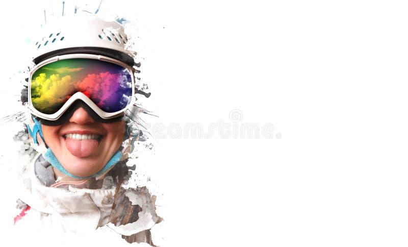 Una muchacha joven de la snowboard que llevaba un casco y los vidrios pusieron hacia fuera su lengua La máscara refleja la demand imagenes de archivo