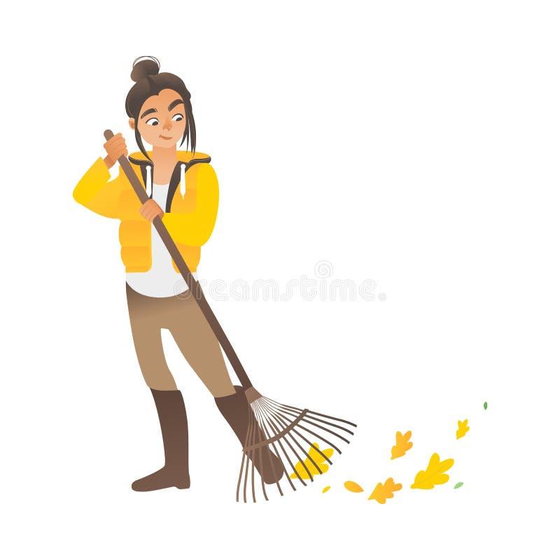 Una muchacha linda o una mujer joven barre las hojas con un rastrillo stock de ilustración