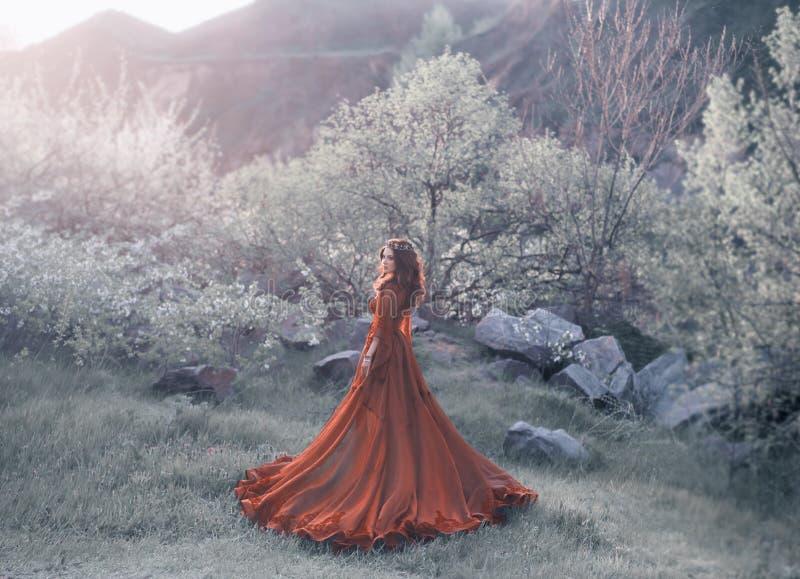 Una muchacha morena con una corona de oro y en un vestido rojo en un tren largo que camina en la puesta del sol Fauna del fondo,  imagen de archivo