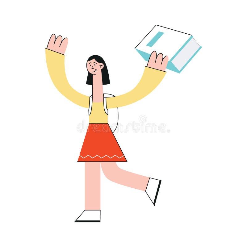 Una muchacha morena joven con una mochila, un estudiante o la colegiala lleva un libro grande stock de ilustración