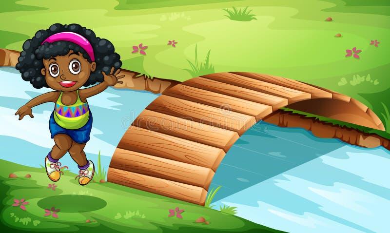Una muchacha negra joven cerca del puente de madera libre illustration