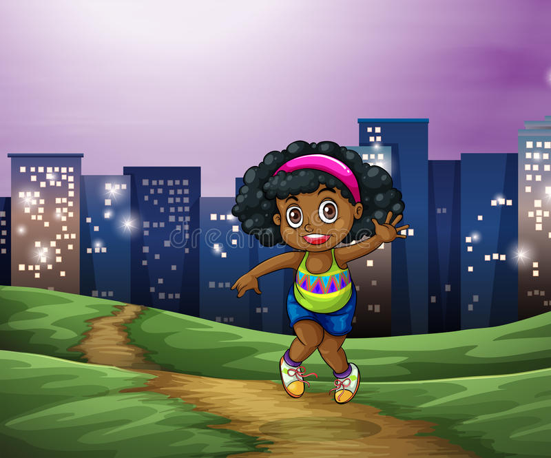 Una muchacha negra joven a través de los edificios altos en la ciudad libre illustration