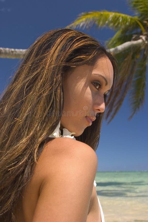 Una muchacha polinesia hermosa en Hawaii fotos de archivo