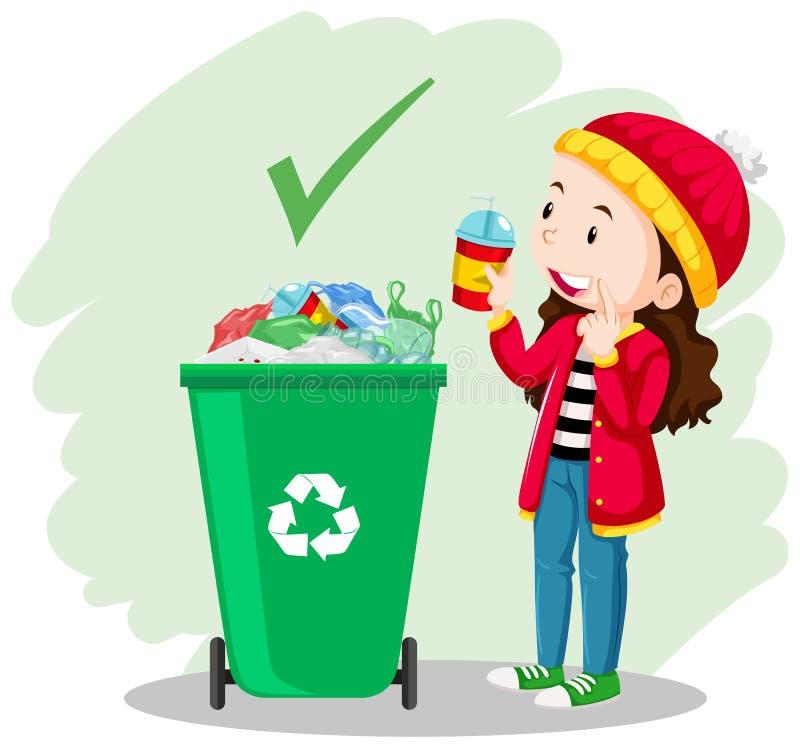 Una muchacha puso el vidrio en el bote de basura stock de ilustración