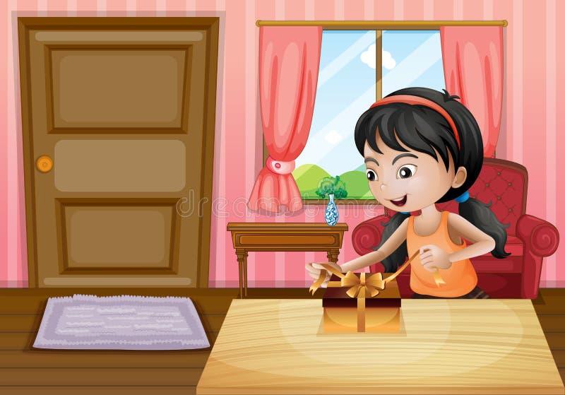 Una muchacha que abre su regalo dentro de la casa libre illustration