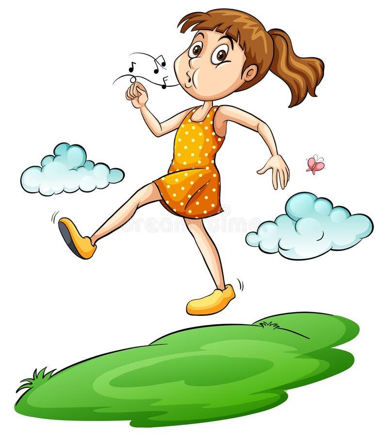 Una muchacha que camina en el aire libre illustration