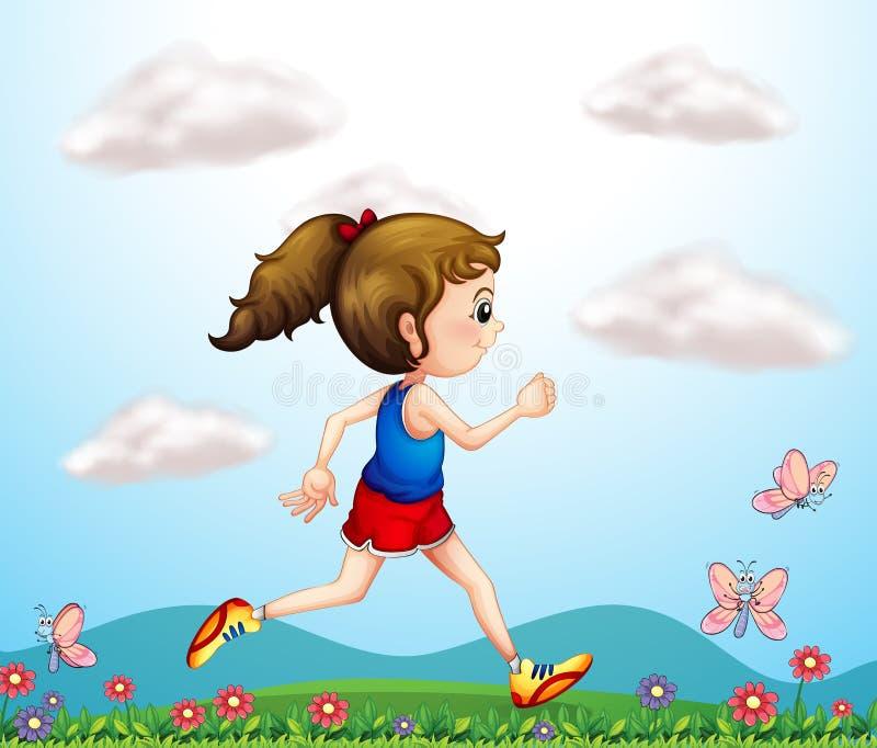 Una muchacha que corre con las mariposas stock de ilustración