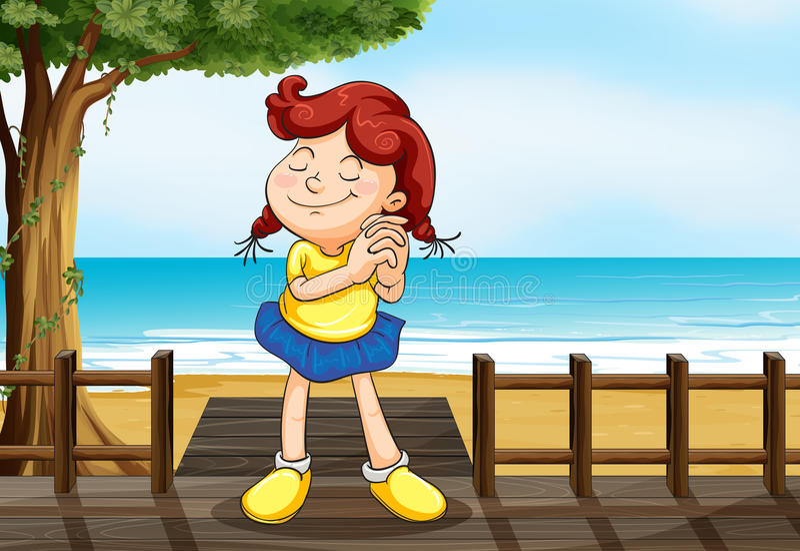 Una muchacha que desea en el puente de madera ilustración del vector