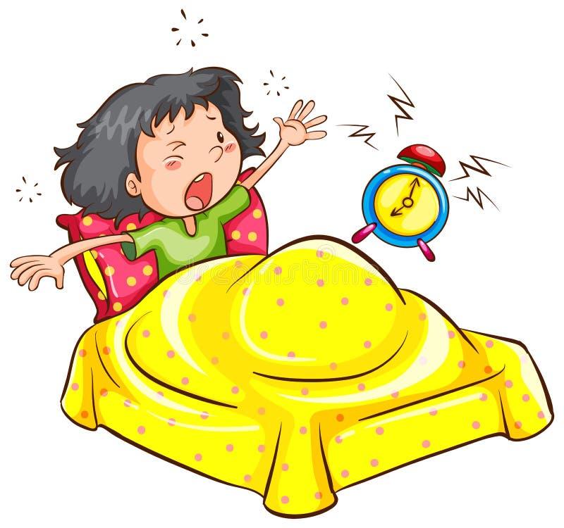 Una muchacha que despierta con una alarma ilustración del vector