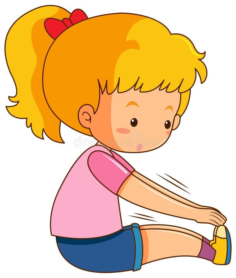Una muchacha que estira el cuerpo ilustración del vector
