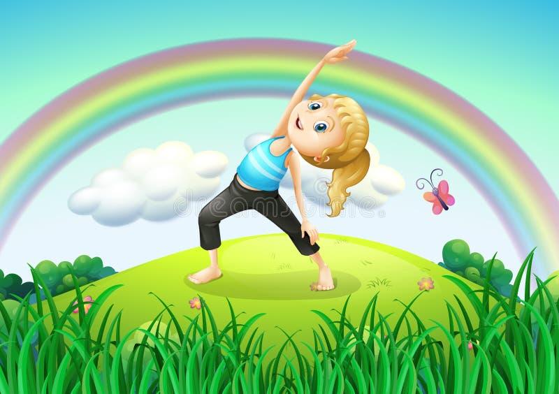 Una muchacha que estira en la cima de la colina con un arco iris stock de ilustración