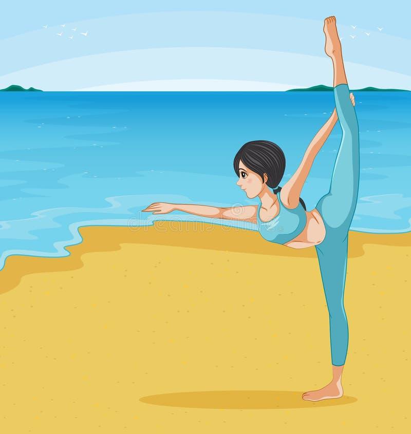 Una muchacha que estira en la playa ilustración del vector
