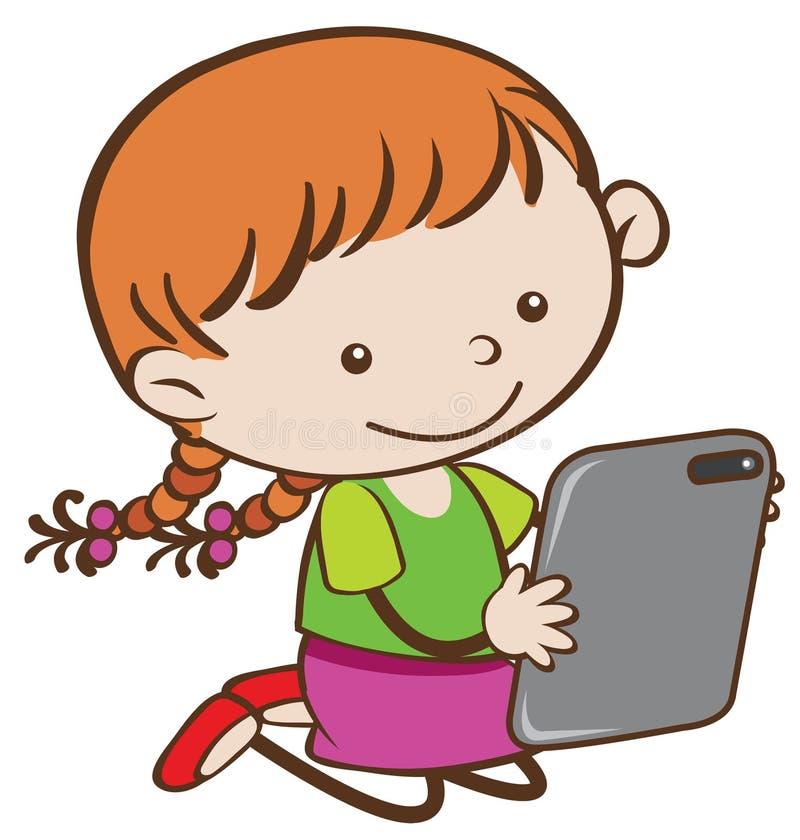 Una muchacha que juega al juego de la tableta ilustración del vector
