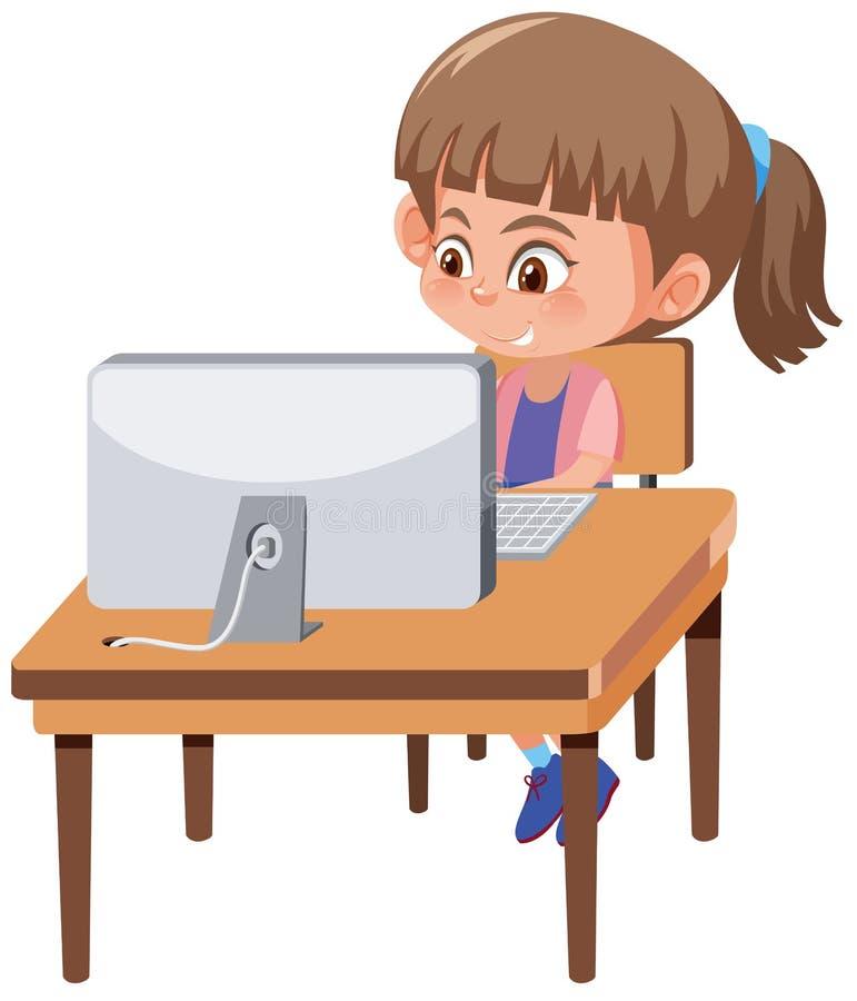 Una muchacha que juega el ordenador stock de ilustración