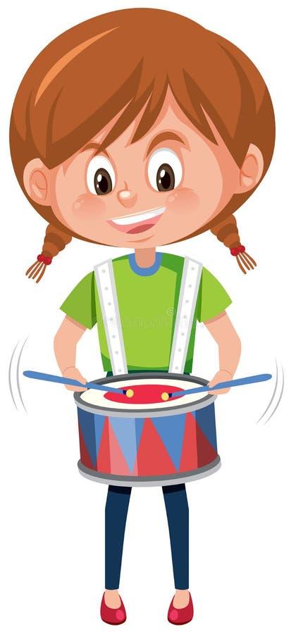 Una muchacha que juega el tambor stock de ilustración