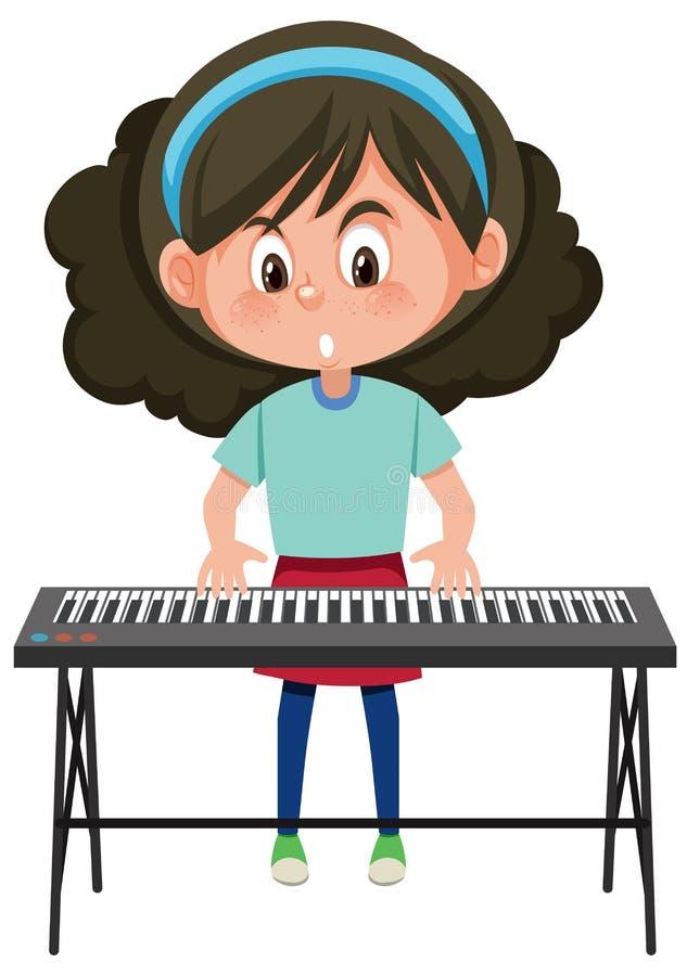 Una muchacha que juega el teclado electrónico ilustración del vector