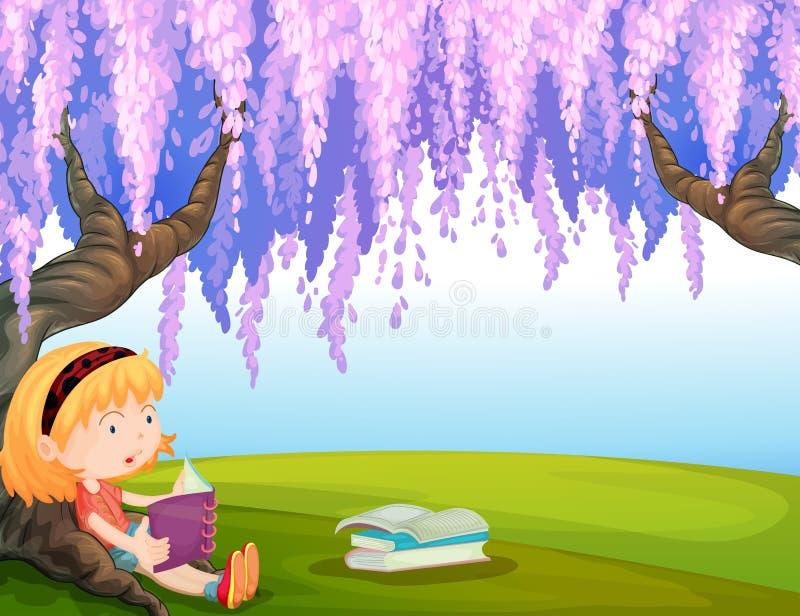 Una muchacha que lee un libro en el parque libre illustration