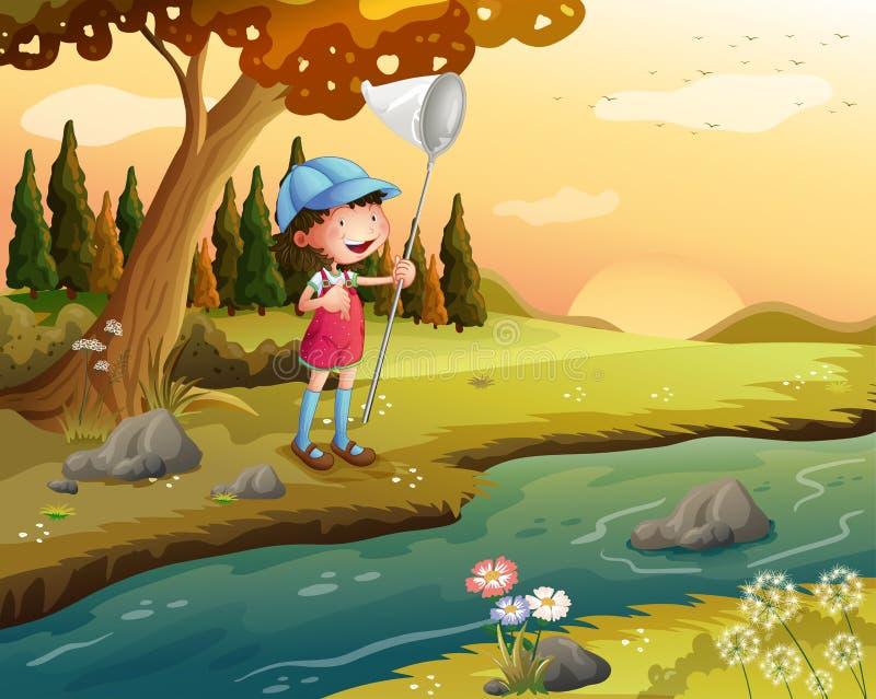 Una muchacha que lleva a cabo una red a lo largo del río libre illustration