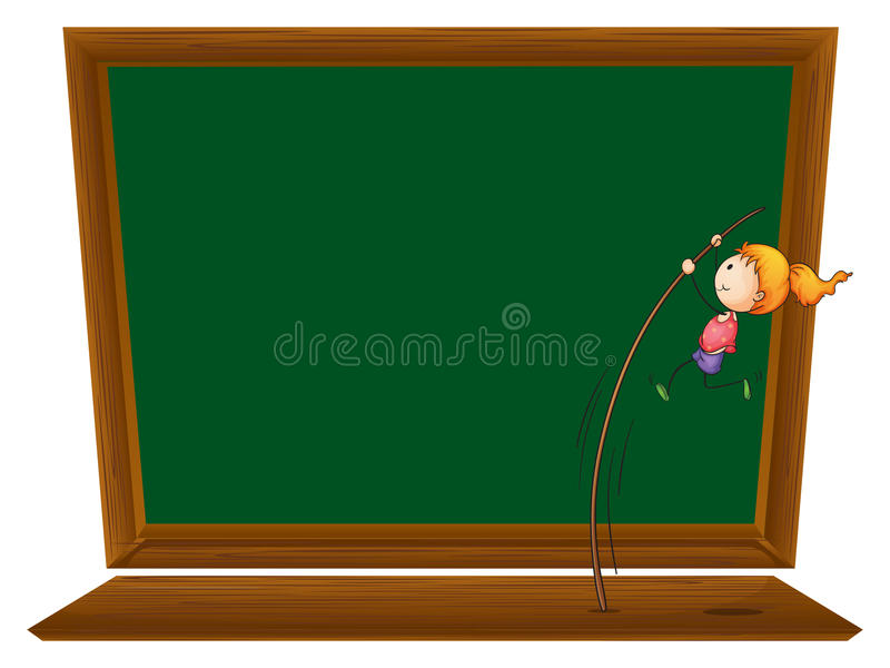 Una muchacha que realiza un salto con pértiga delante de un tablero en blanco