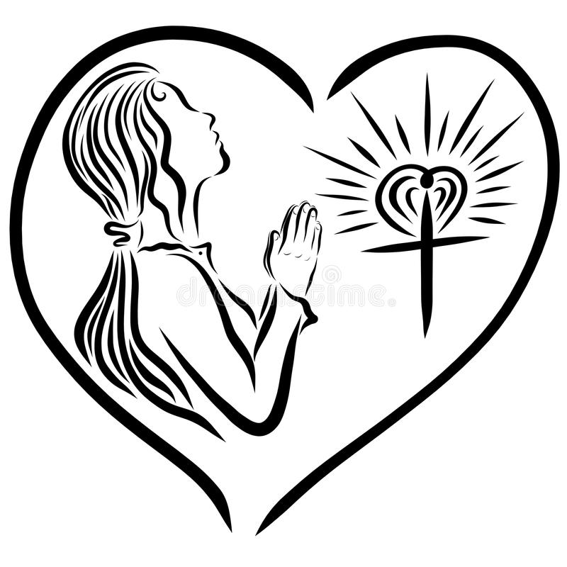 Una muchacha que ruega a dios, y una cruz radiante, amor del ` s de dios protege stock de ilustración
