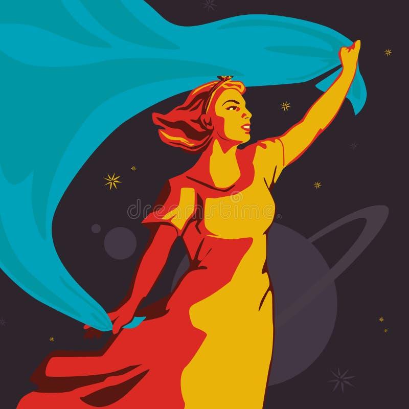 Una muchacha que se coloca con una bandera que se convierte azul grande ilustración del vector