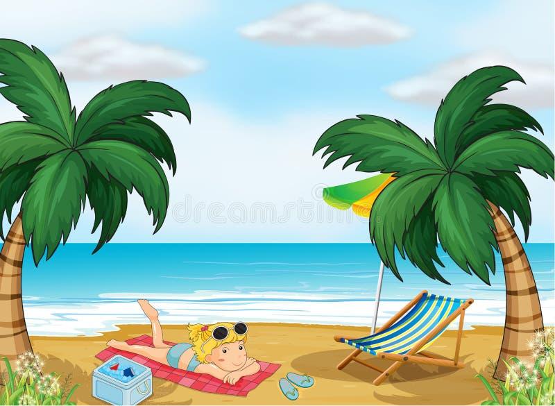 Una muchacha que se relaja en la playa ilustración del vector