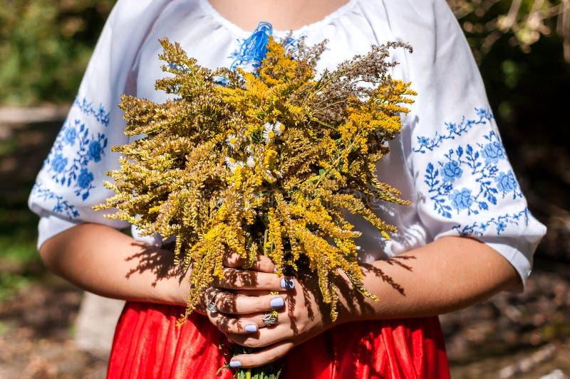 Una muchacha que sostiene un ramo de wildflowers frescos Mujer en traje nacional ucraniano imágenes de archivo libres de regalías