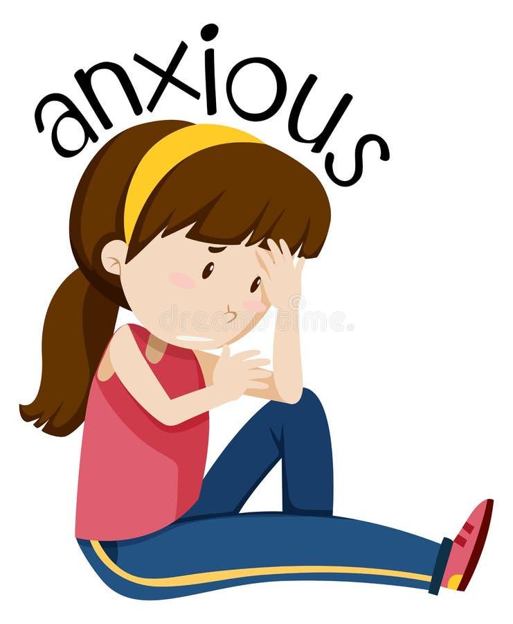 Una muchacha que tiene ansioso stock de ilustración